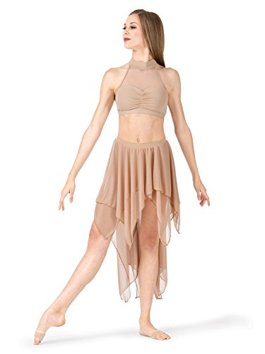 (Body Wrappers Adult Double Layer High-Low Dance Skirt BW9115NUDXSS Nude XSS)