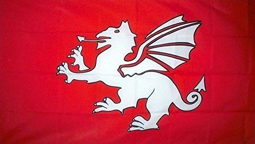 5' x 3' England White Dragon Flag English Old Historical Pendragon Banner