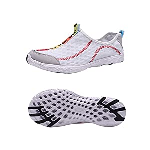 WallyDeals Men's Aqua Water Shoes Quick Drying Mesh Slip On Lightweight Outdoor Sneakers White