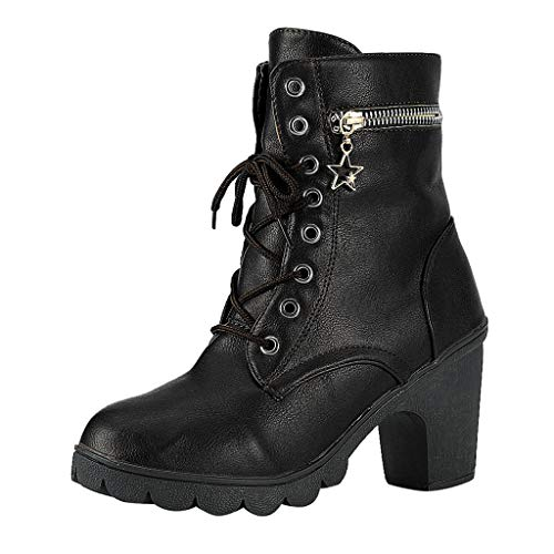 ONLY TOP Women Motorcycle High Heels Punk Buckle Rivet Strap Combat Military Mid Calf Boots