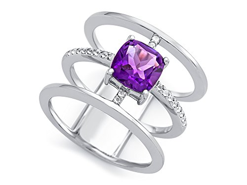 Amethyst Cushion Shape - Finejewelers Sterling Silver 3 Triple Band Ring with 7mm Amethyst Cushion Size 7