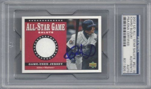 Ichiro Suzuki Signed 2002 UD All Star Salute Game Used Jersey Card - Autographed MLB Baseball (2002 Mlb All Star Game)