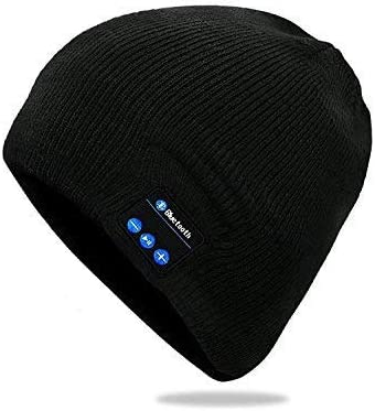 Wireless Bluetooth Hat,Beanie Detachable Stereo Speakers Microphone, Fleece-Lined Unisex Music Beanie for Outdoor Sports Charges via USB