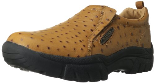 Roper Mens Performance Slip-On Casual Western Shoe Tan Ostrich