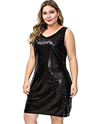 Plus Size V Neck Sleeveless Black Cocktail Loose Fit Dress