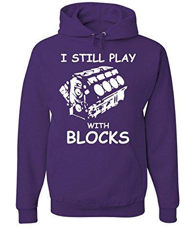 I Still Play with Blocks Hoodie Funny Car Mechanic Engine Sweatshirt Purple S