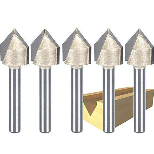 HUHAO 90 Degree Router Bit CNC Engraving V Grooving Bit Cutter With 1/4 Shank 1/2-Inch Cutting Dia 5PCS