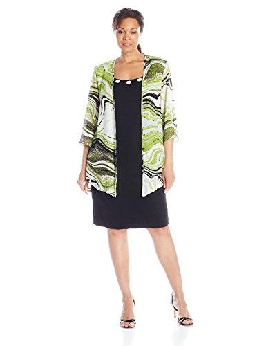 Dana Kay Women's Plus-Size Duster Wave Jacket and Dress Set, Avocado/Black, 16W