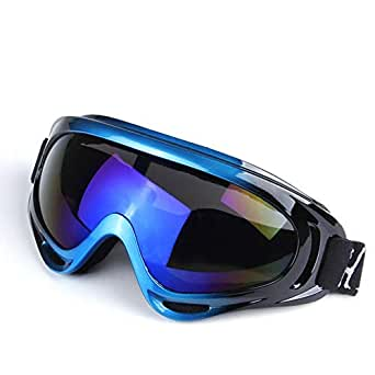 Color Motorcycle Goggles Outdoor Riding Glasses Ski Goggles Blue Black Frame Blue Film