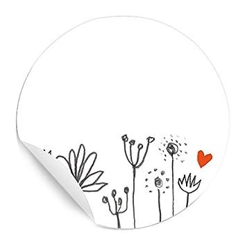 24 Aufkleber Etiketten Selbstklebend Zum Selbst Beschriften Für Hochzeit Marmelade Oder Geschenke Freitext Rund 4 Cm Blumen Design Florale