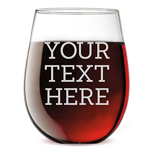 Personalized Etched Custom Message 17oz Stemless Wine Glass