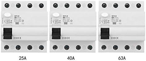 漏電遮断器、4P残留電流遮断器漏電保護電気機器25A/40A/63A 400VAC GYL9(40A)