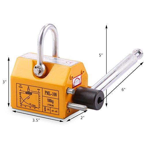 OrangeA 220LBS 100KG Steel Magnet Lifter Neodymium Magnetic Lifting Magnet Magnetic Shop Crane Metal Lifting Hoist (220LBS) by OrangeA (Image #7)