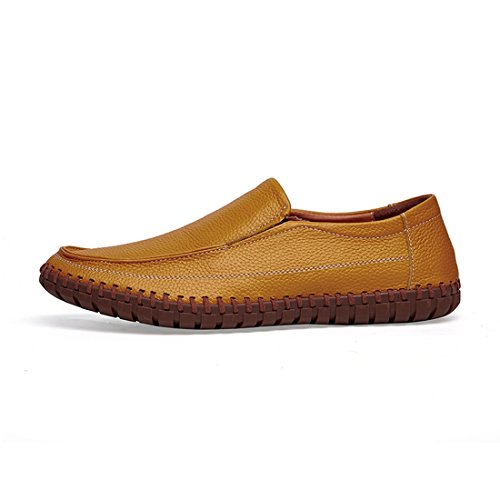 Minitoo Boys Mens Stitched Solid Casual Spring Loafers Yellow