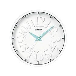 Casio White Modern Stylish Wall Clock Analog IQ-64 (White/Blue Markers)