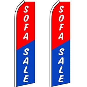 2 Swooper Flutter Flags SOFA SALE Red Blue White