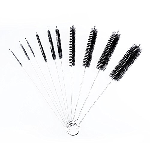 Foonii 8.2 Inch Nylon Brush Set for Tube Straws Glasses Keyboards Jewelry and More - Variety Pack (10 pieces) Cleaning (Black)