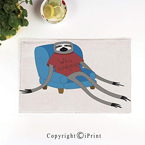 LIFEDZYLJH 4Pcs Simple Style Decorative Washable Anti-Slip Woven Flax-Like Table Placemats,Urban Sloth T Shirt with Inscription Who Cares Procrastination Laziness Idleness,Blue Grey -