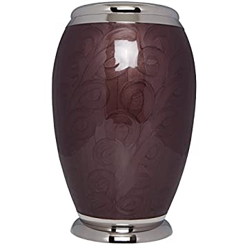 Liliane Memorials Dark Brown Enamel Funeral Cremation Urn Blanche Model in Brass for Human Ashes Suitable for Cemetery Burial Fits Remains of Adults up to 200 lbs, Large 200 lb,