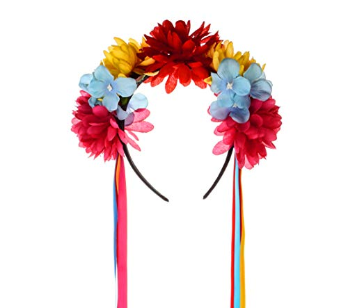 Floral Fall Day of The Dead Flower Crown Festival Headband Rose Mexican Floral Headpiece HC-23 (Crown with Ribbon)