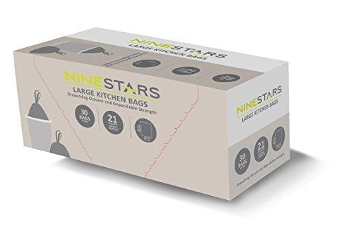 NINESTARS NSTB-21-30 Extra Strong White Trash Bag w/Drawstring Closure, 21 Gal. / 79 L., 30 count