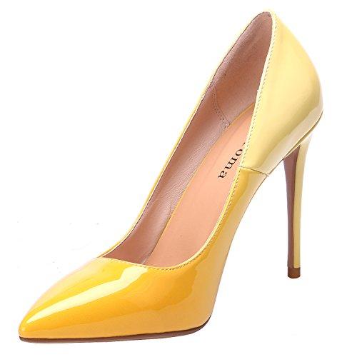 Jaune À Stiletto Hauts Zaproma Chaussures Femme Pompe Enfiler Talons Z17K4q