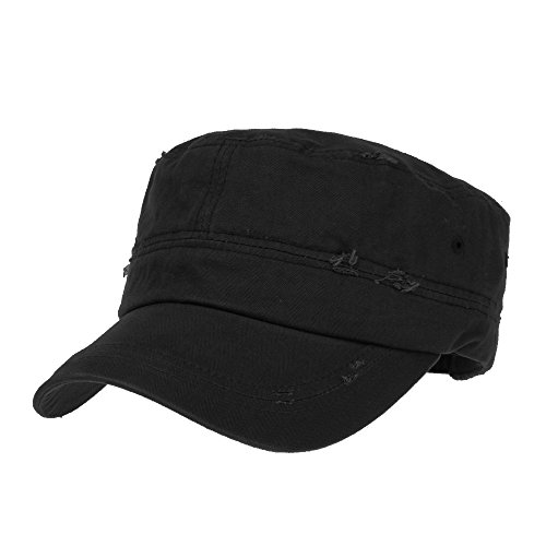 WITHMOONS Cadet Cap Camouflage Twill Cotton Distressed Washed Hat KR4303 (Black)