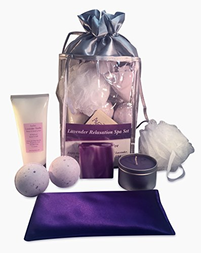 AyaZen Lavender Aromatherapy Bath and Body Gift Set-Lavender Eye Pillow, Soy Candle, 2 Bath Bombs, Artisan Natural Soap, Lotion, Pouf Sponge. Made In USA Give The Gift Of Relaxation