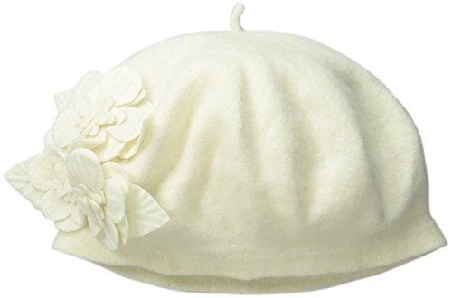 San Diego Hat Company Women's Wool Beret Hat with Self Flowers, Ivory, One Size (Beret 100 Wool Ivory)