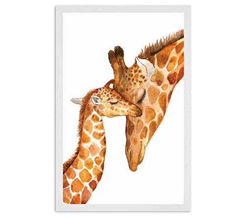 Nursery Decor - Safari Giraffe Bedroom Wall Art Decor for Nursery | Decorative & Easy to Frame Printed Picture 11x17-inch | 1 - (UNFRAMED) Print | Nursery Sweet Giraffe Baby and Mom for Nursery ()