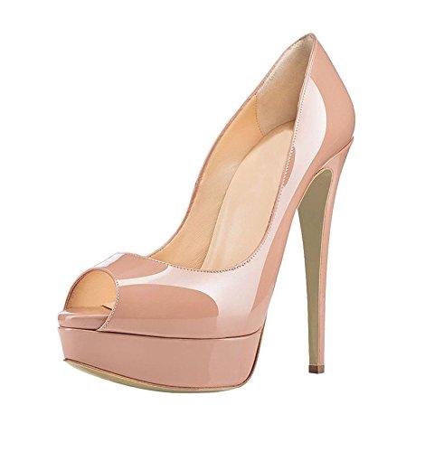 Slip Court Heel Beige Stilettos Soireelady 14cm Peep Toe Platform On Pumps Shoes Womens High xwHUYqB