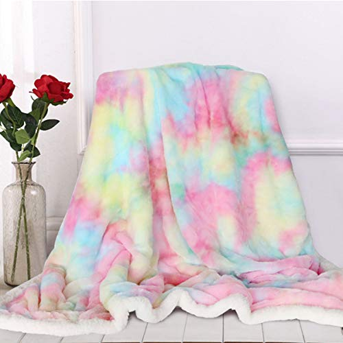 Sleepwish Cute Fuzzy Unicorn Blanket - Girls Rainbow Decorative Sofa Couch and Floor Throw Warm Cozy Super Soft Bed Cover Long Shaggy Hair Faux Fur Sherpa Backing Pastel Pink Turquoise 51 x 63 Inches