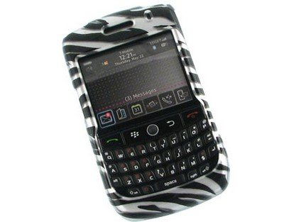 Zebra Curve 8900 (Hard Plastic Phone Protector Cover Case Silver Zebra Skin For BlackBerry Curve 8900)