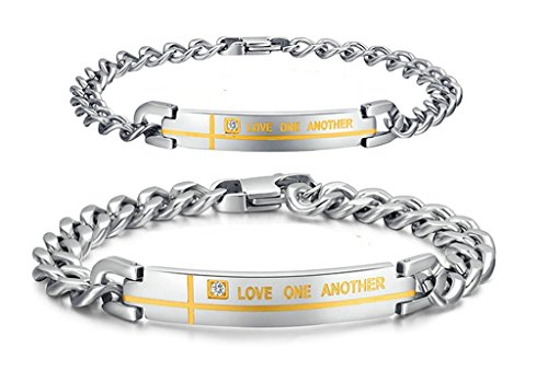 Gnzoe 2Pcs Men Women Bracelet Bangle Set Stainless Steel