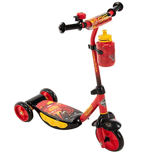 Huffy Disney Pixar Cars Preschool Scooter with Lights, Bell & A Water Bottle Superhero Red, Pixar Cars with Lights & Water Bottle