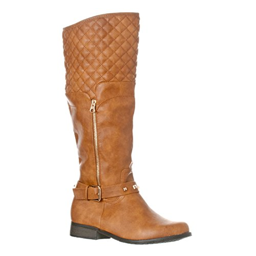 Riverberry Women's Ava Quilted Knee-High Low Heel Casual Riding Boots, Tan, 7.5 (Brinley Studded Boots Riding)