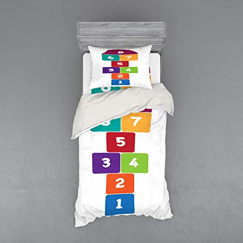 Lunarable Hopscotch Bedding Set, Numeral Colorful Geometric Shapes Outdoor Activity Playground Hobby Have Fun, 3 Piece Duvet Cover Set with Sham and Fitted Sheet, Twin XL Size, - Quilt Set Hopscotch