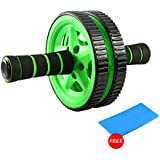 Ab Roller Wheel - Ab Workouts. Double Wheels with Foam Handles & Bonus Foam Kneel Mat. Sculpt Your Core at Home.