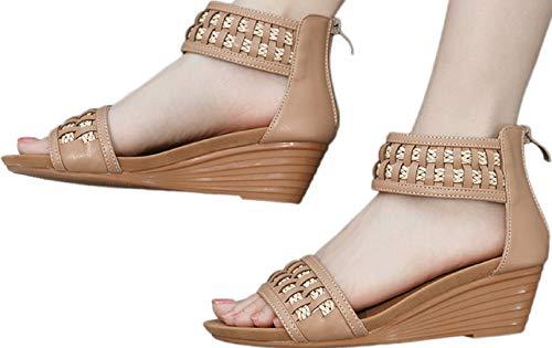 Fainosmny Platform Sandals for Women Plus Size Shoes Comfortable Braided Sandals Wedge Zip Single Shoes Summer Beach Shoes Beige