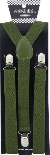 JTC Belt Great Quality Unisex Suspenders Plain Olive