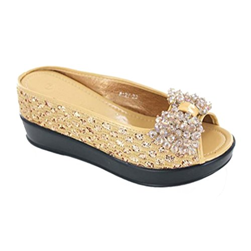 Helens Heart Sparkle Bling Hidden Wedge Slide Causal Sandal with Jewel Bow, 8127-20, Gold, Size 7