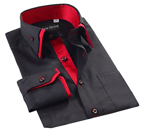 - Mens Italian Shirts Double Collar Slim Fit Casual Button Down Shirt (BLACK/RED-DC07 M)