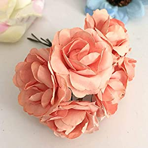 XGM GOU 144Pcs 3.5Cm Imitation Mulberry Paper Flowers Artificial Scrapbooking Rose Bouquet for Garland Corsage Box Wedding Decoration 101