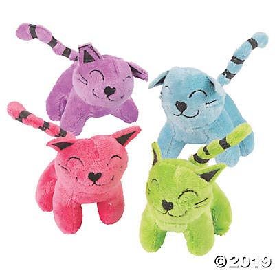 Colorful Stuffed Cat Assortment (12 pack) Bulk Plush Animal Toys in Bright Colors: Toys & Games