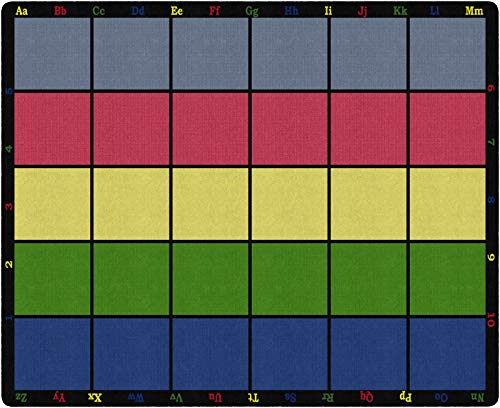 Flagship Carpets FE126-58A Learning Grid Children's Classroom Seating Rug (Seats 30), 10'9