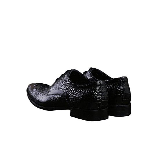 Santimon Hombres Alligator Leather Formal Zapatos Con Cordones Negro