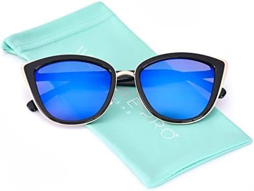 Womens Cat Eye Mirrored Revo Reflective Lenses Oversized Cateyes Sunglasses
