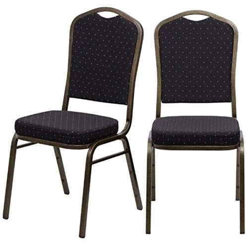 - Contemporary Design Commercial Grade Multipurpose Banquet Stacking Chairs Solid Powder Coated Steel Frame Home Restaurant Office Furniture - Set of 6 Black Dot Fabric/Gold Vein Frame #2220