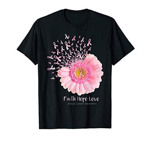 (Breast Cancer Awareness T Shirt Faith Hope Love Flowers)