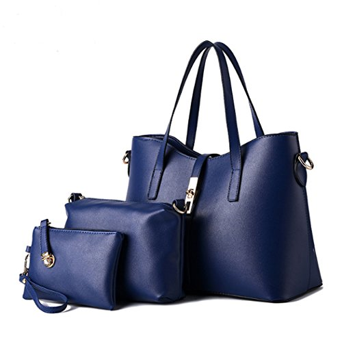 viaggio sintetica Womens pezzi in di tracolla pelle Travel Blu Bag borsa insieme Hot Borsa da a Fashion borsa tre Un IS7zqxff